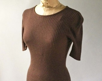 Vintage CELINE Puff Shoulder Blouse Sweater Rich Chocolate Brown Ribbed Cashmere