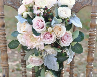 Silk Flower Bride Bouquet, Blush Dahlia, Blush Roses, Faux Flowers, Berry, Silk Flowers, Weddings, Destination Wedding, Bridal Bouquet.