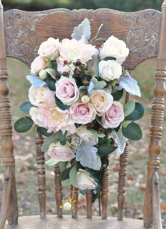 Silk Flower Bride Bouquet Blush Dahlia Blush Roses Faux