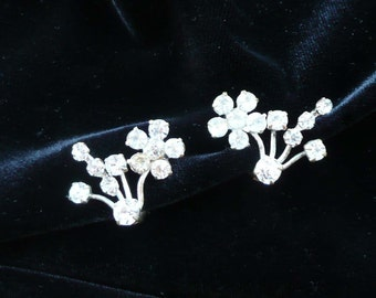 Austrian Crystal Earrings Clip On Style Retro Vintage Rhinestones