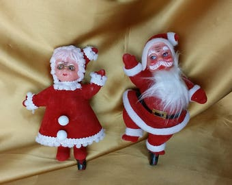Vintage Mid Century Dancing Santa & Mrs Claus Christmas Decorations Figurines Flocked Plastic  *eb
