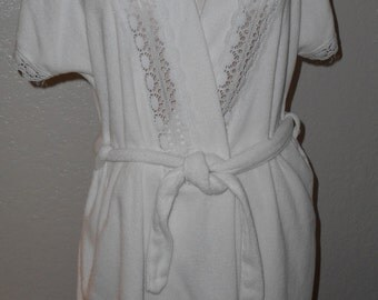 Vintage Terry Robe Swimsuit Cover Up White Medium