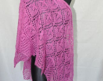 Magenta Hand Knit Lace Shawl, Fuchsia Knit Shawl, Woman Lace Shawl, Luxurious Kid Mohair and Silk Shawl, Water Lily
