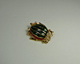 Vintage RHiNESTONE & ENAMEL BEETLE BROOCH Bug Pin