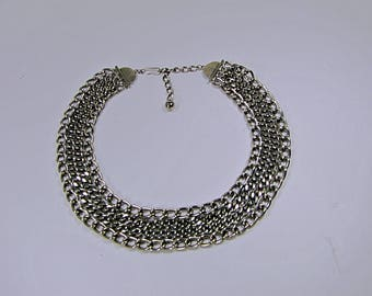 Vintage SILVER CHAIN NECKLACE Thick & Heavy Adjustable