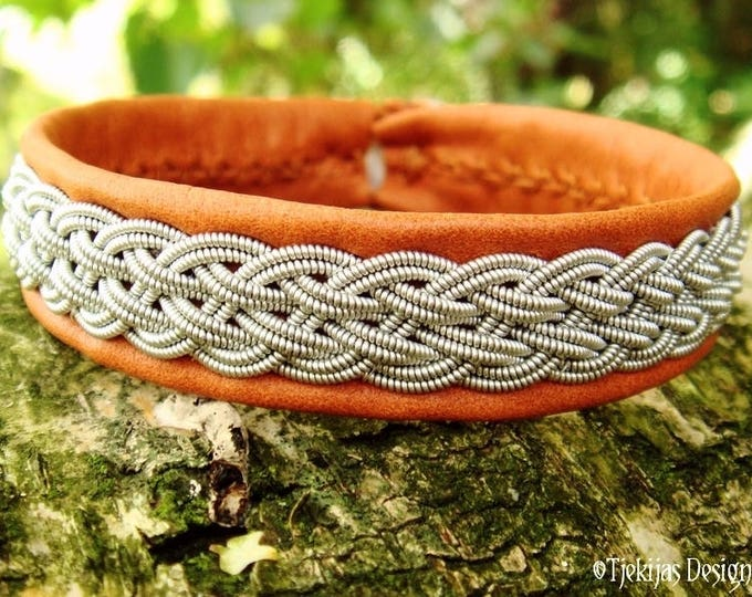 Viking Sami Bracelet Cuff DVALIN Handcrafted for Men and Women, in Bark tanned Reindeer Leather with Pewter Braid and Antler Closure