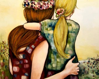 Like mother like daughter art print, gift idea mother's day