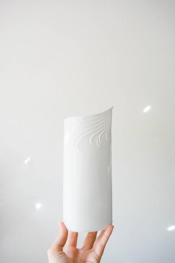 Mid Century Modern Glazed and Matte White Porcelain Vase // AK Kaiser West Germany // Bohemian Home Decor