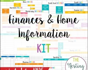 Finances & Home Information Set - Instant Download PDF - 160 Pages