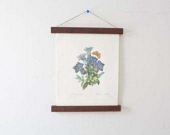 Vintage Flower Illustration and Magnetic Poster Holder - Walnut Print Hanger Wooden Poster Hanging Wood Photo Frame Floral Artwork Blue