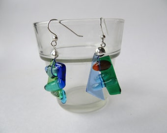 Silver Long blue green glass earrings Fused Glass Earrings Silver 925 earring Original Design glassfusing Dangle Earrings Glass Jewelry Gift