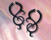 Fake Gauge, Thistle Twists, Black Horn Earrings, Tribal Jewelry, Split, Organic, BOHO, Handmade, Cheaters, Faux, Eco Friendly - H15