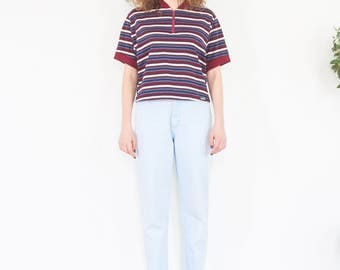 90s Sporty Striped Sheer Knit T-shirt / Boxy Crop Top