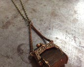 Antiqued Brass Miniature Tiny Mesh Doll Handbag Purse Pendant on Antiqued Brass Chain Necklace