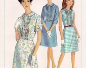 Sweet Vintage 1960s Simplicity 6894 Half Size Button Front Shirtwaist Dress with Pin Tucks Sewing Pattern B35
