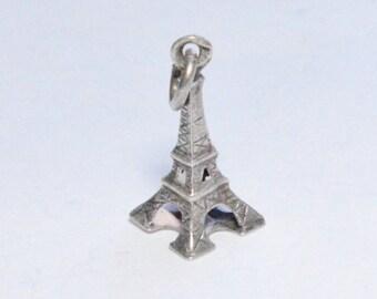 SALE Vintage Sterling Silver Eiffel Tower Paris Charm Bracelet Charm