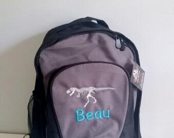 Personalized T rex skeleton backpack, dinosaur backpack, personalized backpack, boys big backpack, kids gift