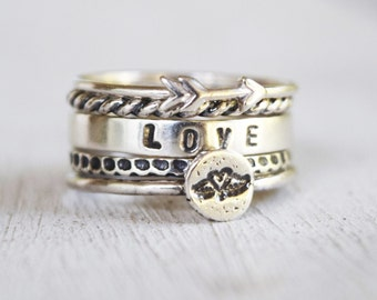 Sterling Silver Love Stacking Ring Set - Hand Stamped Winged Heart - Set of 5 - Customized Text - Bohemian Ring Set