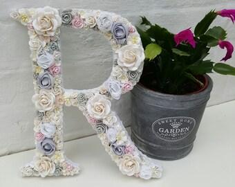 Flower Letter Floral Letter White Grey Flowers Personalised Wall Letter Initial Monogram Nursery Decor Baby Shower Art