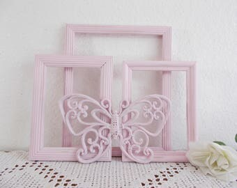 Light Pink Shabby Chic Butterfly Picture Frame Set Photo Decoration Paris Nursery French Country Farmhouse Romantic Cottage Home Decor Gift