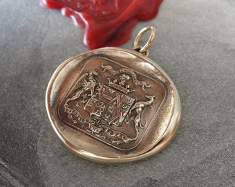 Wax Seal Pendant Griffin and Greyhound - antique wax seal charm jewelry motto Fear the Vortex, Faithful and Bold by RQP Studio