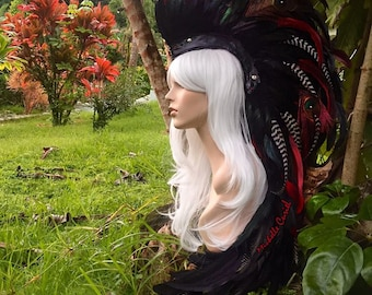 "Feather Mohawk Headdress  - ""Lokelani"""
