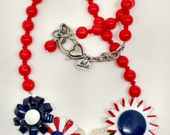 Flower Necklace, Nautical Jewelry, Red White Blue Necklace, Patriotic Necklace, Statement Necklace, Recycled Necklace, Upcycled Necklace