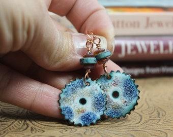 Copper Enameled Earrings