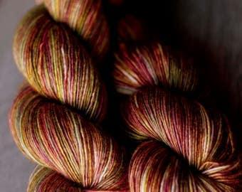 "Sock Yarn Single - 70/30 SW Merino/Silk - Autocorrect - ""Organ Juice"""