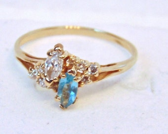 Vintage Aquamarine,Topaz and Diamond Ring 14K Yellow Gold,