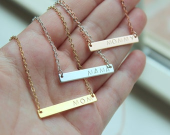 READY TO SHIP Mama Necklace, Mama Jewelry, Mom Necklace Gift Mothers Day Gift , Mommy Necklace, Gold Bar Necklace, Bar Jewelry, Push Present
