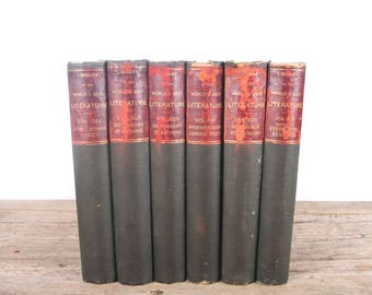 1896 Library of The World's Best Literature 6 Volume Book Set / Peale & Hill / Antique History Books / Old Books Vintage Books / Red Books