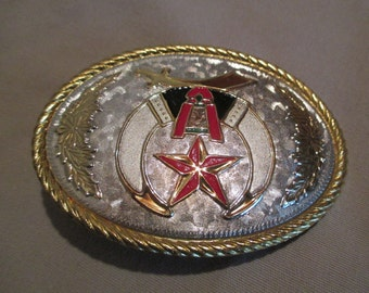 Buckle, Vintage Shriner Freemasonry Gold Silver Red White Black Marzug  Mason Rope Edge Western Stocking Stuffer Gift for Him Made in USA
