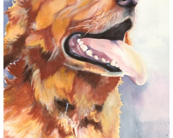 "5x7"" Golden Retriever Watercolor Giclee Fine Art Print [Watercolor Pet Portrait Print, Golden Retriever Art, Watercolor Print]"