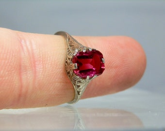 Antique 14k White Gold Filigree Lab Ruby Size 5.5 Very Nice Quality, Details and Condition DanPickedMinerals