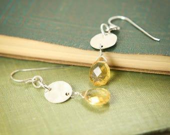Citrine Gemstone Earrings - Hammered Sterling Silver, Genuine Gemstone, Simple, Delicate - Focus, Intellect, Healing, November Birthstone