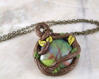 Round Mystical Woodland Fairy Pendant