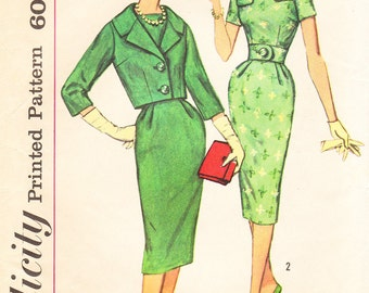 1960's Misses Bateau Neckline Slim Belted Dress and Jacket - Vintage Simplicity Sewing Pattern  3084