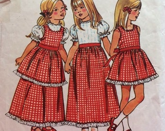 1970s Toddler Maxi Dress and Pinafore - Vintage Simplicity Sewing Pattern  5383 - Size 6