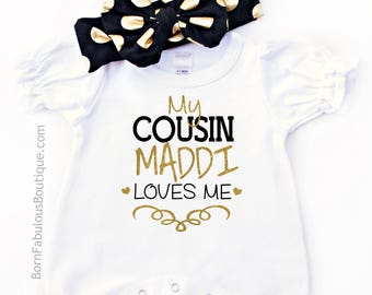 Personalized Baby Clothes, Cousin Gift, Cousins Gift, New Baby Gift, Baby Shower, Newborn Baby Clothes, Baby Girl, Personalized Baby Gift