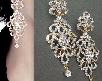 """Gold chandelier earrings - 3"""" Long - Crystal rhinestone statement earrings - Brides earrings - Pageant - Prom - Wedding earrings, MEG"""