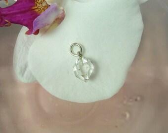 Raw Crystal Jewelry, SIlver Raw Crystal Jewelry, Raw Crystal Pendant, Herkimer Diamond,Raw Gemstone Jewelry, Natural Crystal Pendant