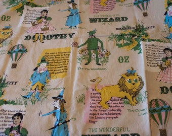 CLEARANCE was 45.00 Dorothy The Wonderful Wizard of Oz Vintage Fabric- Handmade into Curtain Panel