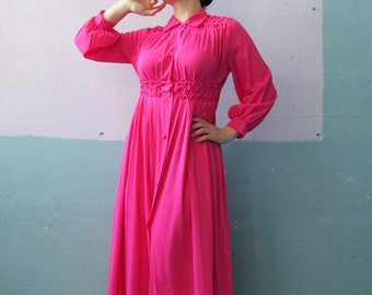 Vtg 60s 70s Pink Nightie / Hot Pink Robe / House Dress
