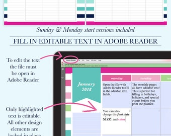 2018 Planner Printable, Monthly Planner, Weekly Agenda Printable, Day Planner 2018, A4 Planner, Letter Size Planner, Digital Planner Pages