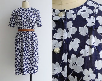 Vintage 80's Wild Flowers Navy & White Cotton Dress S or M