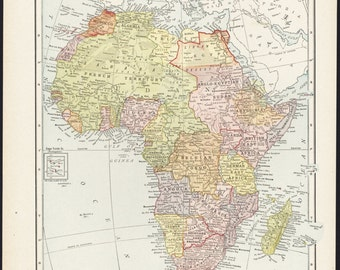 Map Of Afica African 1910 Antique Colorful Illustrated 11x14 Reverse Full Page Asia No 115 116