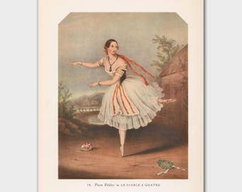 "Ballerina Wall Art, Vintage Ballet Print (Home Decor, Dance Teacher Gift) --- ""The Devil to Pay"""