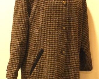 Vintage L.L. Bean Checkard Tweed Ladies Coat Size L