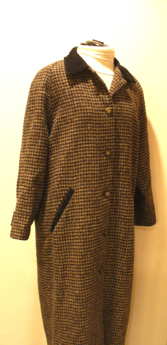Vintage L.L. Bean Checkard Tweed Ladies Coat Size L